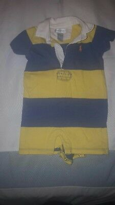 Polo Ralph Lauren Baby Boy One Piece Romper Blue and Yellow 3 Months