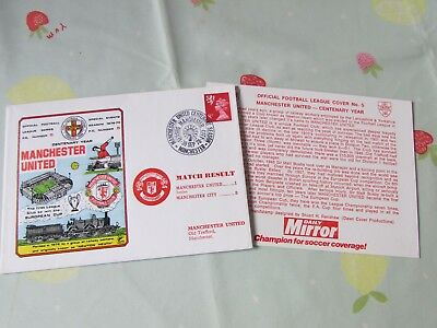 MANCHESTER United v MANCHESTER City 1978 Centenary Year FOOTBALL First Day Cover