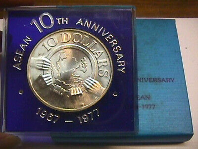 Singapore 10 Dollars - 1977 -10th Anniversary Of ASEAN w/Original Package Silver