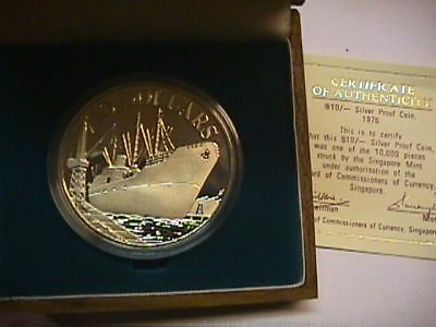 Singapore 1976 10 Dollar Silver Proof Coin WITH BOX AND COA PAPER. KM#15