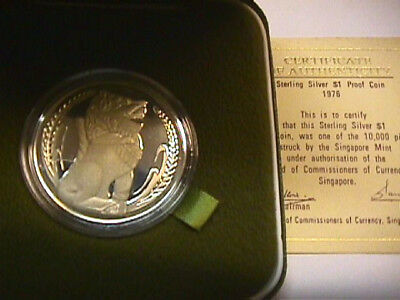 Singapore 1976 1 Dollar Silver Proof Coin WITH BOX AND COA PAPER. KM#6a.