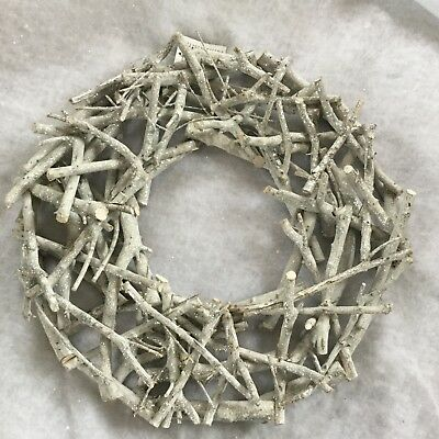 40cm Silver Glitter Twig Wreath Wood Christmas Door Winter Wonderland Decoration