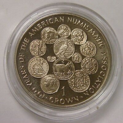 Isle of Man - 1991 - Proof 1 Crown - 100 Years of American Numismatic Assoc -ANA
