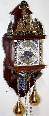 Vintage Dutch Zaanse 2 Weight Wall Clock W/ Porcelain Delft Tiles & Atlas Figure