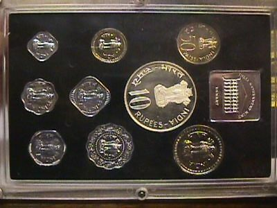 Republic Of India - 1973 - Proof Coin Set - 9 Coin Set with sleeve and paper.