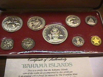 1973 Commonwealth of the Bahama Islands Proof Set - 9 Coins, BOX AND COA
