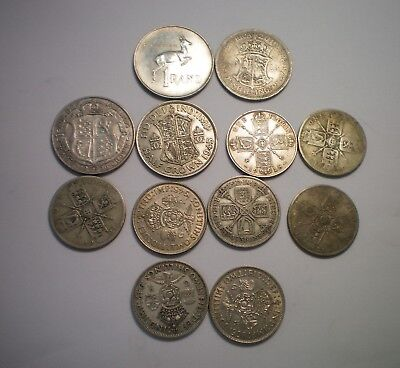 Great Britain And South Africa Silver Shilling, Florin, 1/2 Crown, Rand Lot