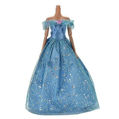 Great Beautiful Dark Blue Dress with Butterfly Decoration Doll for Barbie J&C