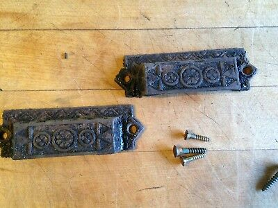Pair of Antique Eastlake Cast Iron Drawer Pulls
