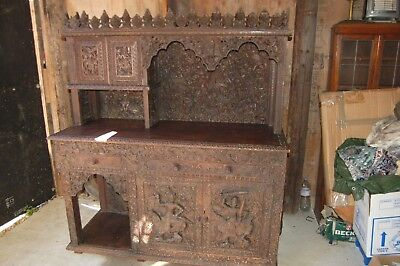 Antique Heavily Carved Cabinet (Possibly Burmese)