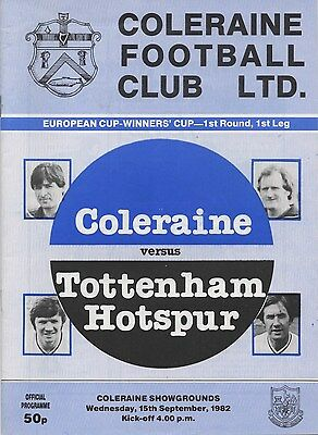 Sep 82 COLERAINE v TOTTENHAM HOTSPUR Europena Cup Winners Cup
