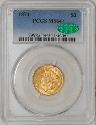 1874 $3 Gold Indian MS64+ PCGS ~ CAC