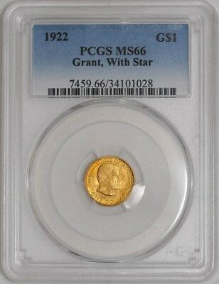 1922 $ Gold Grant Dollar With Star MS66 PCGS