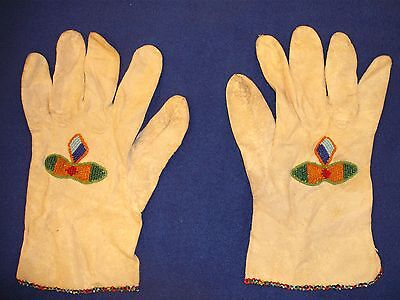 Hand Made Kidd Leather Beaded Work Gloves