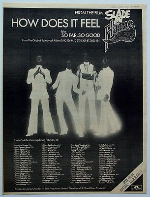 SLADE 1975 Poster Ad HOW DOES IT FEEL slade in flame