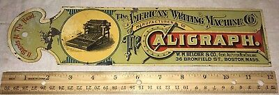 Antique American Writing Machine Caligraph Typewriter Tin Ledger Marker Sign Old