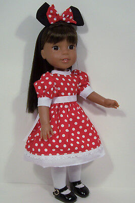 """Minnie Mouse Dress Costume Doll Clothes For AG 14"""" Wellie Wisher Wishers (Debs"""