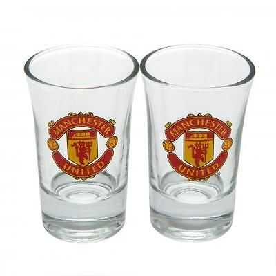 Manchester United 2 Pack Shot Glass Set Gift Official Licensed Football Product