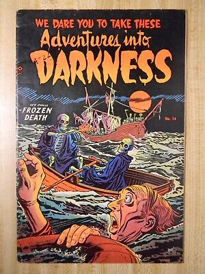 Adventures Into Darkness #14 (Vg/fn) (5.0) (Si-5) Scarce! 1954, Mike Roy Art!