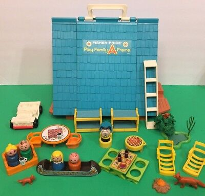 Vintage Fisher Price Little People A Frame House w/ All Wood Family Foxes Canoe