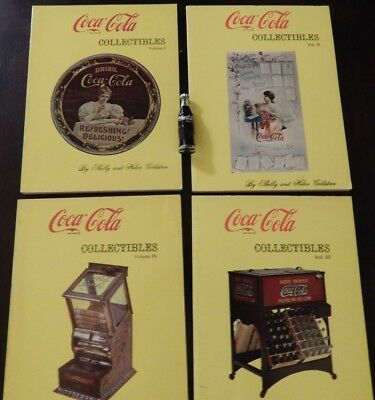 Rare Vintage Set Of 4 Vintage Coca Cola Collectors' Books & Coke Bottle Amazing!