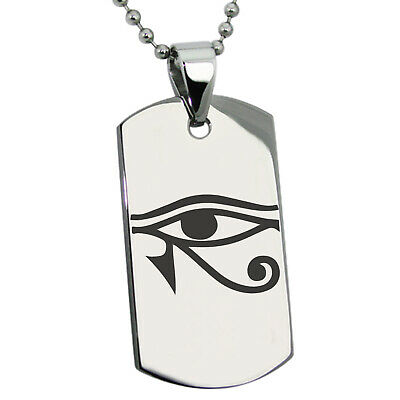 Stainless Steel Egyptian Eye of Horus Symbol Mens Dog Tag Necklace or Keychain