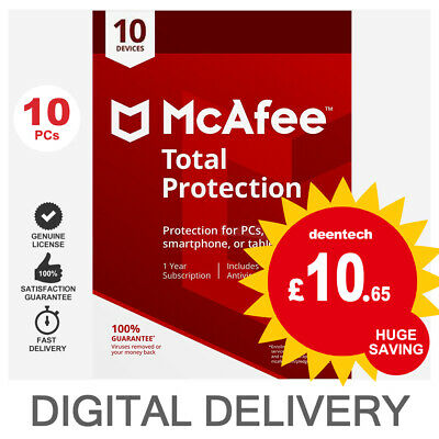 McAfee Total Protection 2019 (10 User) Multi Device PC/Mac Genuine License Key