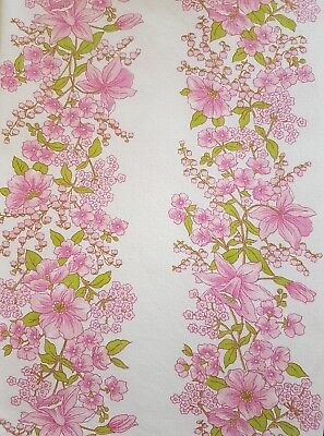 2 x Vintage Retro Pink Floral Single Bed Flat Sheets