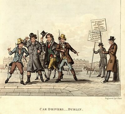 Dublin Ireland horse carriage cab drivers Copper Alley beggars 1825 old aquatint