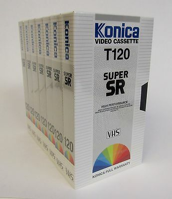 Konica Super SR T-120 * Lot Of 7 Blank 6 Hour VHS Tapes * New Factory Sealed