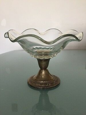 Crystal And Sterling Antique Candy Dish