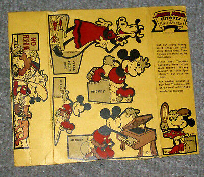 1934 Disney Post Toasties Cereal Box Panels w/Unused Cutouts-Mickey,Minnie+More!