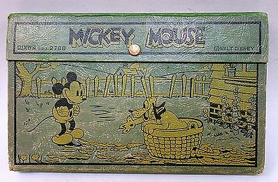 early 1930's  Dixon MICKEY MOUSE & PLUTO Basket of Leaves Pencil Box #2708