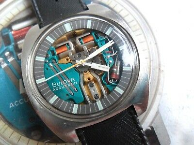 Vintage 1969 Men's Chunky S/S Bulova Accutron 214 Spaceview Tuning Fork Watch