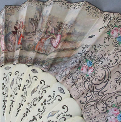 Antique HandPainted French FAN Pierced BONE Sticks French Couples ROSES Scenery