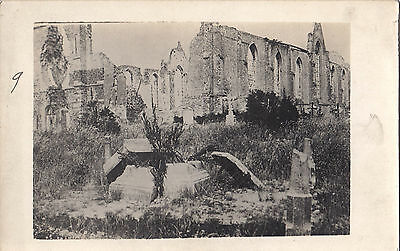 Ruines de l'Église WOESTON BELGIQUE Carte Postale Photo Guerre 1914-18