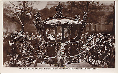 KING GEORGE V & QUEEN MARY Driving to State Parliament Opening 1911-15 RPPC 306
