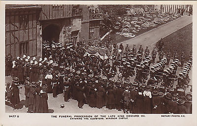 Funeral Procession of Late KING EDWARD VII Windsor Castle Rotary Real Photo PC