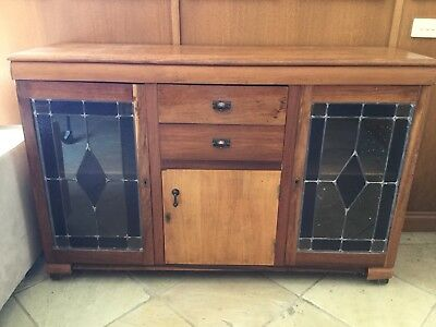 Vintage Timber Cabinet / Sideboard / Buffett With Lead light
