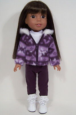 3pc PURPLE Pants Jacket Shirt Doll Clothes For AG 14 Wellie Wisher Wishers (Debs