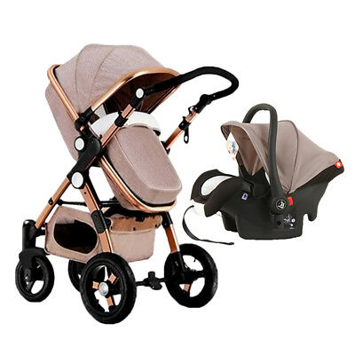 Hot Baby Stroller 3 in 1 High View Pram Foldable Pushchair Bassinet Car Seat New