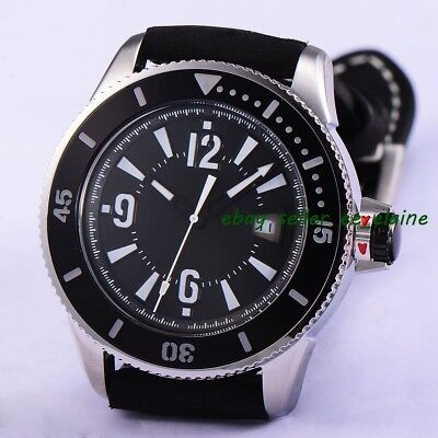 43mm Black Sterile Dial Mens Automatic Watch Sub Style Relojes Leather Strap 02