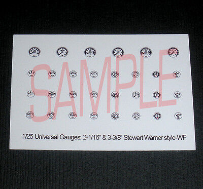 UNIVERSAL-STYLE WHITE-BACKGROUND GAUGE SET-for 1/25 scale MODEL CAR & TRUCK KITS