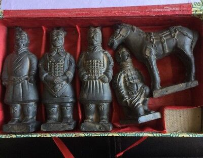 Chinese Xian Terracotta Warriors Army with Horse 5 pc Set Statues Gift Set Boxed