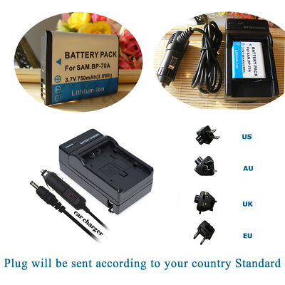 BP-70A Battery & Home/car Charger for Samsung TL110 TL205 WB30F WB35F WB50F WP10