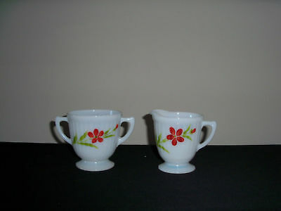 Depression GlassPetalware Florette Cream & Sugar Bowl