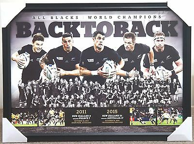 All Blacks Rugby 2011 & 2015 World Cup Back To Back Print Framed New Zealand
