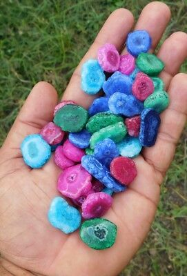 82.00 Cts Treated Dyed Natural Baby Solar Druzy Agate Mix Lot  Loose Cab