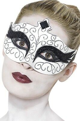 Gothic Swan Eyemask, White, with Black Jewelled Tiara Design and Tie Sides