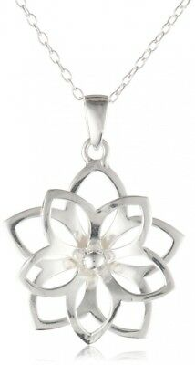 Sterling Silver Girl's Double Flower Pendant, 13-38.1cm. Amazon Collection